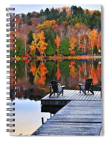 Wooden Dock On Autumn Lake Spiral Notebook