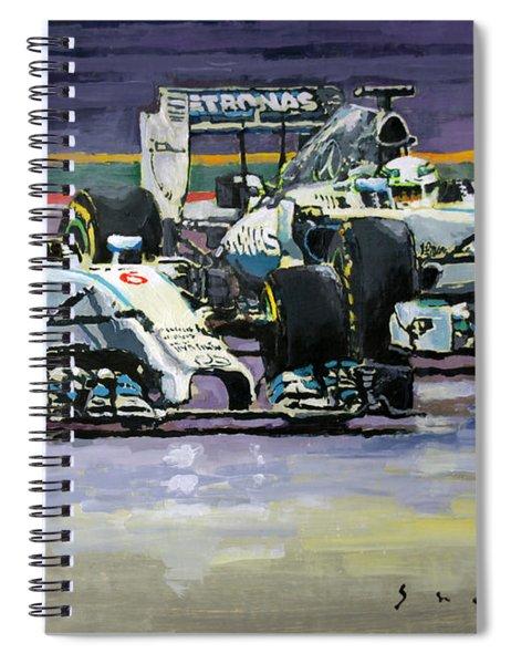 2014 F1 Mercedes Amg Petronas  Lewis Hamilton Vs Nico Rosberg Spiral Notebook