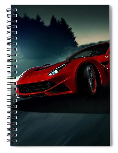 Spiral Notebook featuring the photograph 2014 Novitec Rosso Ferrari F12 Berlinetta N Largo by Movie Poster Prints