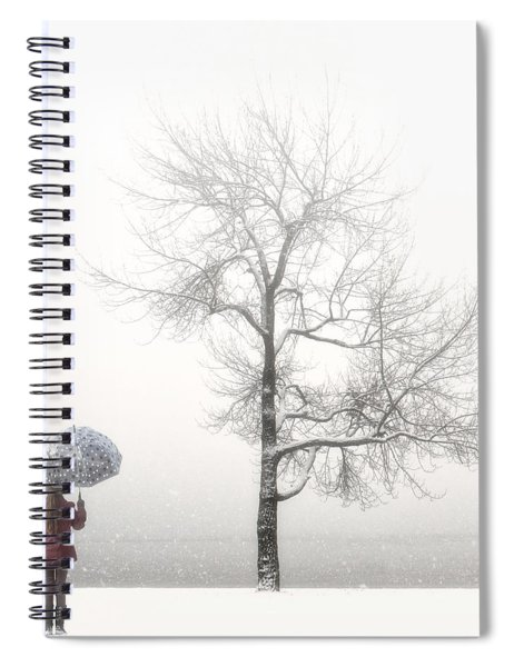 Girl With Umbrella Spiral Notebook