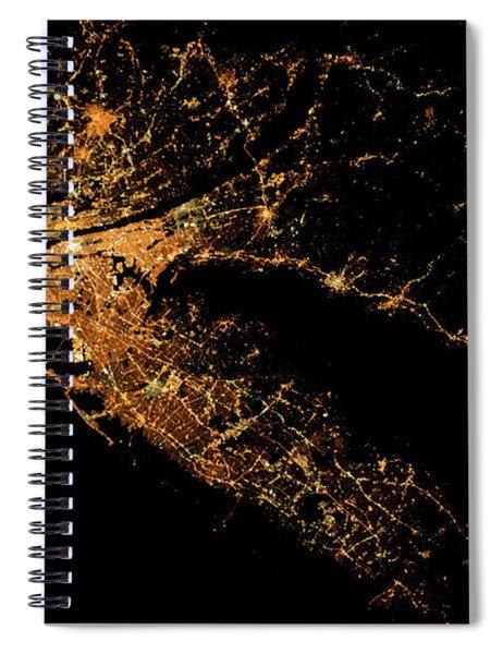 Night Time Satellite Image Of New York Spiral Notebook