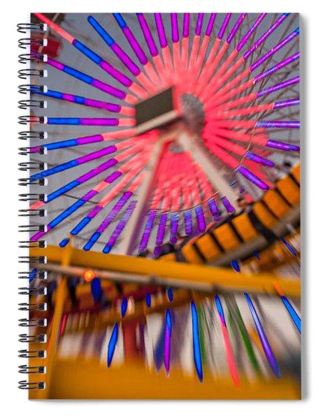 Santa Monica Pier Ferris Wheel And Roller Coaster At Dusk Spiral Notebook