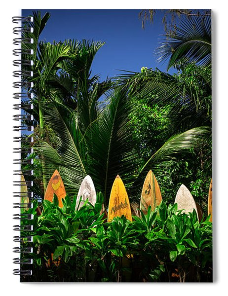 Spiral Notebook featuring the photograph Surf Board Fence Maui Hawaii by Edward Fielding