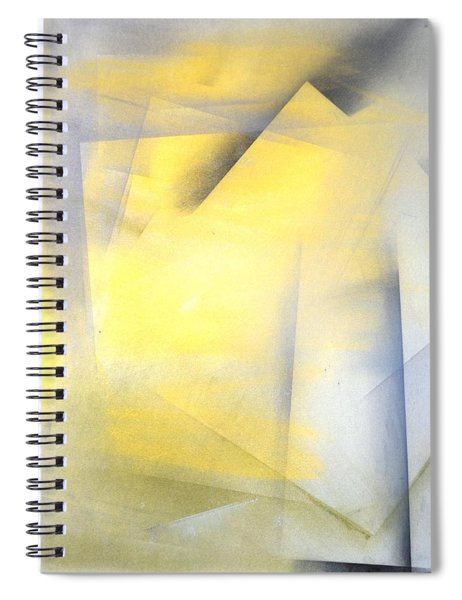 Raise The Bar - Grey And Yellow Abstract Art Painting Spiral Notebook