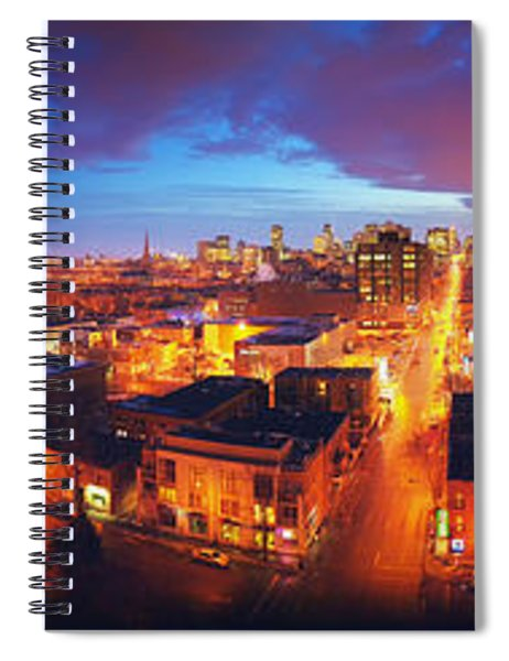 High Angle View Of A City Lit Spiral Notebook