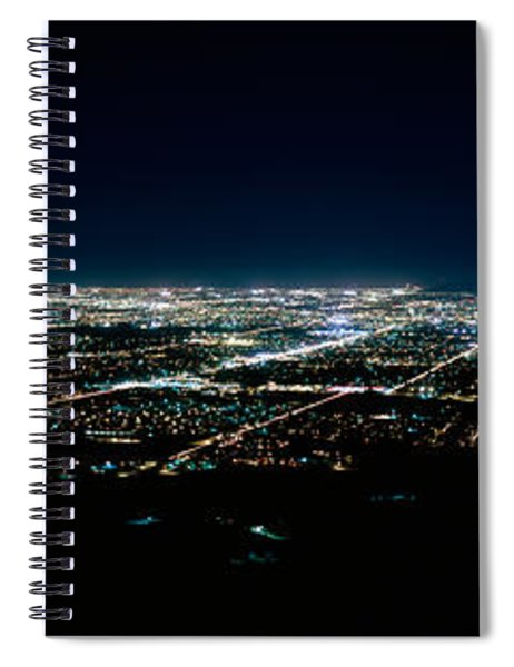 Aerial View Of A City Lit Up At Night Spiral Notebook