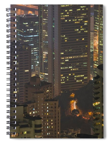 High Angle View Of Buildings Lit Spiral Notebook