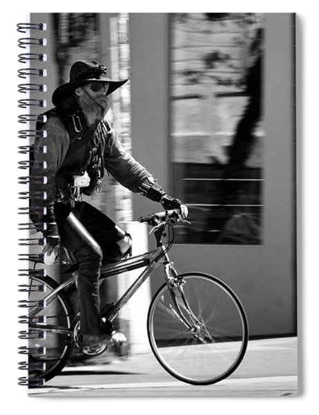A Barefoot Cyclist With Beard And Hat In San Francisco Spiral Notebook