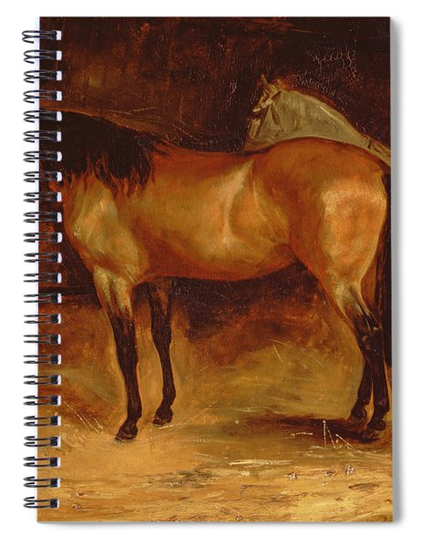 A Bay Horse At A Manger, With A Grey Horse In A Rug Spiral Notebook