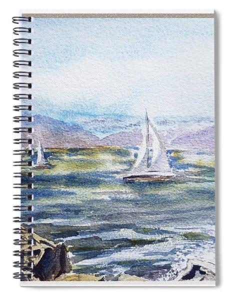 A Bay View Window Rough Waves Spiral Notebook