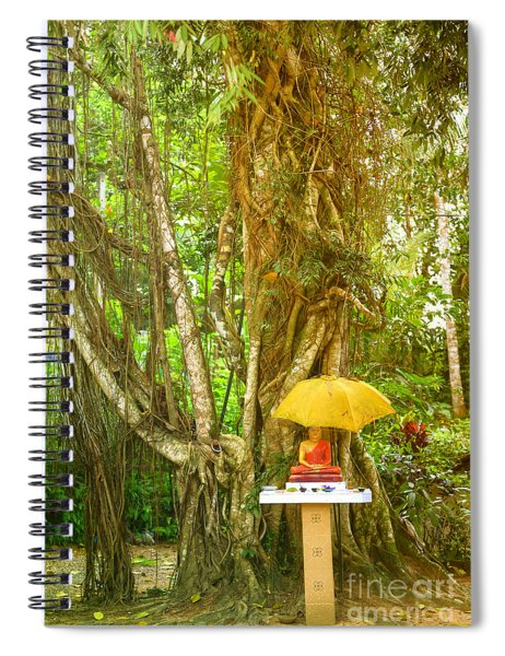 a Buddha shrine under a Bothi tree Spiral Notebook