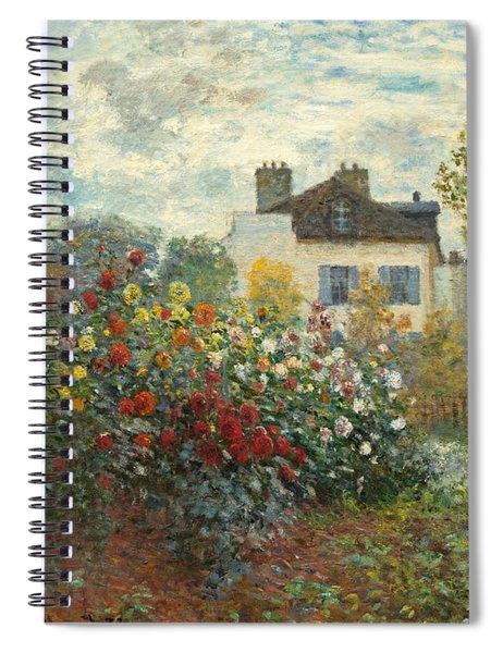 A Corner Of The Garden With Dahlias Spiral Notebook