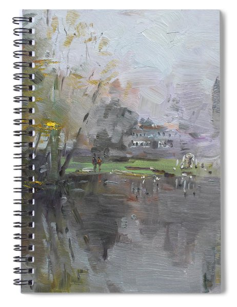 A Foggy Fall Day By The Pond  Spiral Notebook
