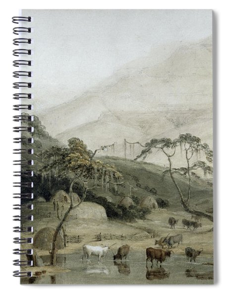 A Kaffir Village, C.1801 Wc & Graphite On Paper Spiral Notebook