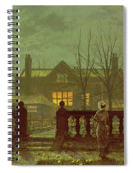A Lady In A Garden By Moonlight Spiral Notebook