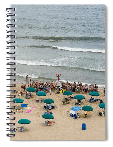 A Lifeguard Gives A Safety Briefing To Beachgoers In Ocean City Maryland Spiral Notebook