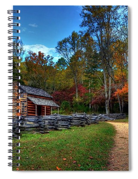 Spiral Notebook featuring the photograph A Smoky Mountain Cabin by Mel Steinhauer