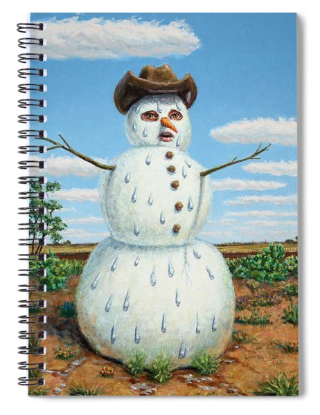 Spiral Notebook featuring the painting A Snowman In Texas by James W Johnson