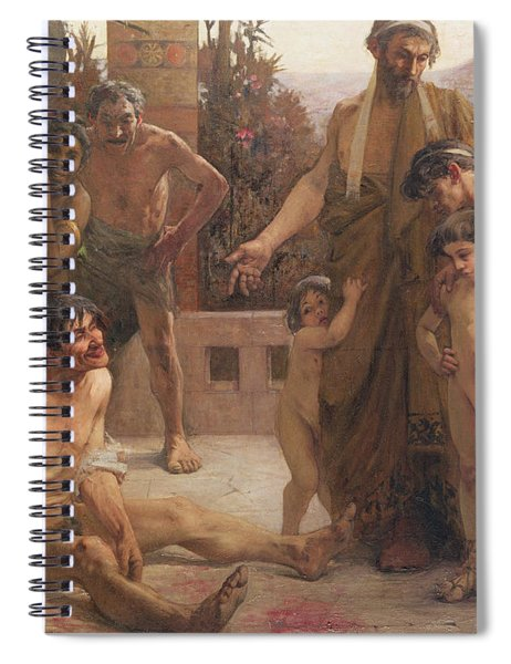 A Spartan Points Out A Drunken Slave To His Sons Spiral Notebook
