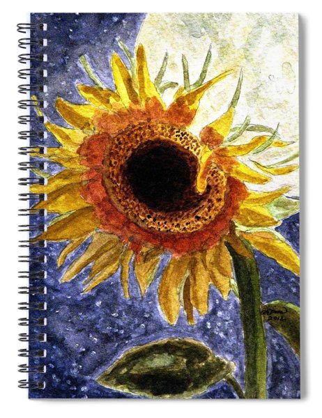 A Sunflower In The Moonlight Spiral Notebook
