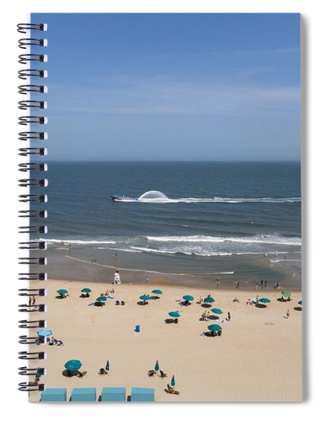 A Touring Speedboat Passes By Shore In Ocean City Maryland Spiral Notebook