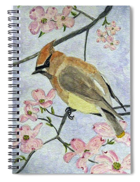 A Waxwing In The Dogwood Spiral Notebook