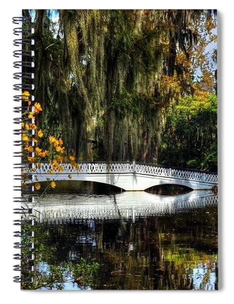 Spiral Notebook featuring the photograph A White Bridge 3 by Mel Steinhauer