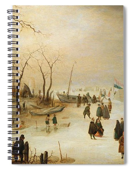 A Winter River Landscape With Figures On The Ice Spiral Notebook