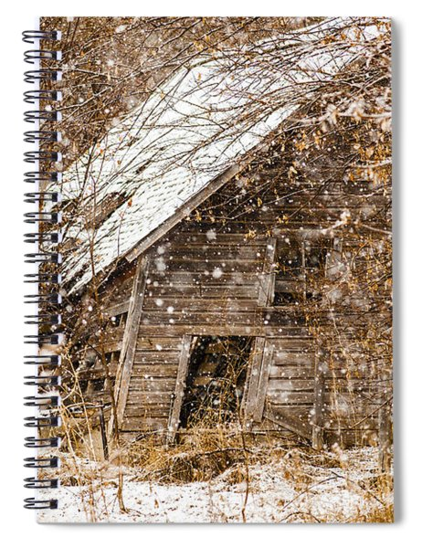 Spiral Notebook featuring the photograph A Winter Shed by Edward Peterson