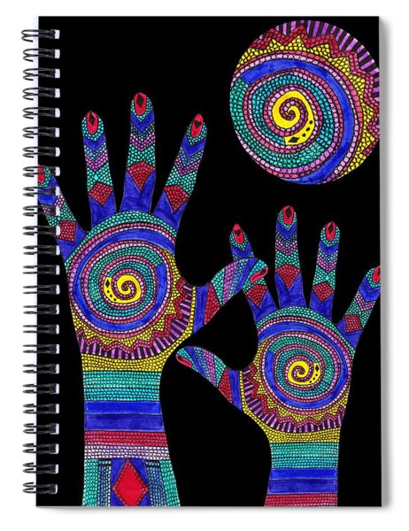 Aboriginal Hands To The Sun Spiral Notebook