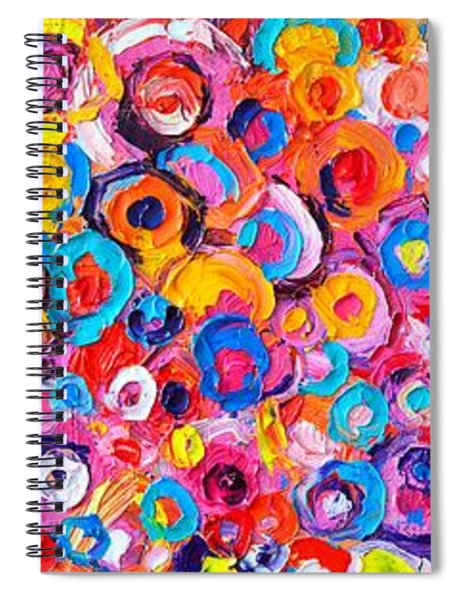 Abstract Colorful Flowers Triptych  Spiral Notebook