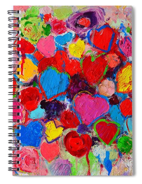 Abstract Love Bouquet Of Colorful Hearts And Flowers Spiral Notebook
