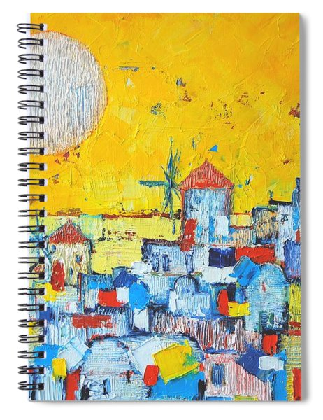 Abstract Santorini - Oia Before Sunset Spiral Notebook