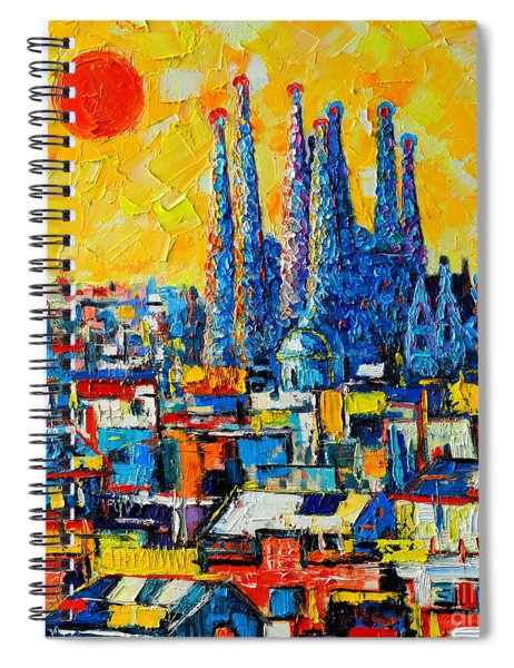 Abstract Sunset Over Sagrada Familia In Barcelona Spiral Notebook