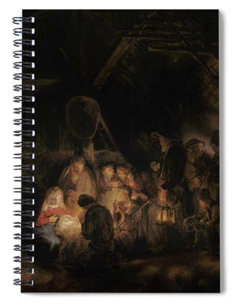 Adoration Of The Shepherds, 1646 Oil On Canvas Spiral Notebook