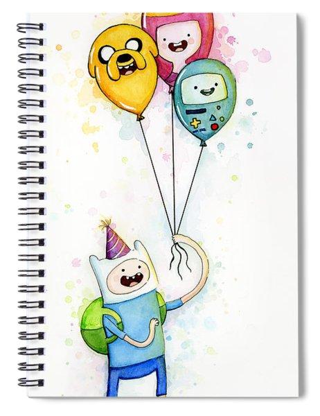 Adventure Time Finn With Birthday Balloons Jake Princess Bubblegum Bmo Spiral Notebook