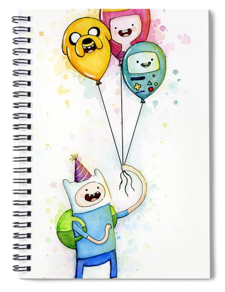 Adventure Time Finn With Birthday Balloons Jake Princess Bubblegum Bmo Spiral Notebook by Olga Shvartsur