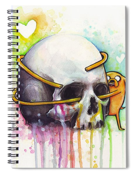 Adventure Time Jake Hugging Skull Watercolor Art Spiral Notebook