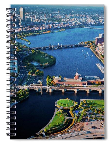 Aerial View Of Bridges Crossing Charles Spiral Notebook