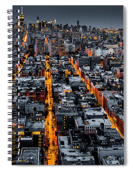 Aerial View Of New York City At Night Spiral Notebook