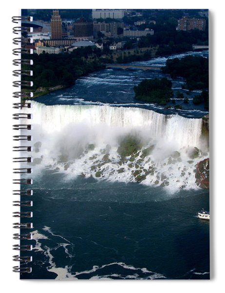 Aerial View Of Niagara Falls And River And Maid Of The Mist Spiral Notebook