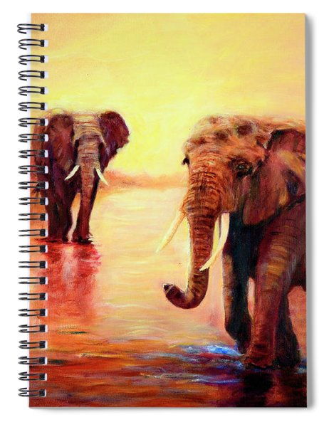 African Elephants At Sunset In The Serengeti Spiral Notebook