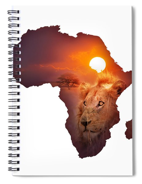 African Wildlife Map Spiral Notebook