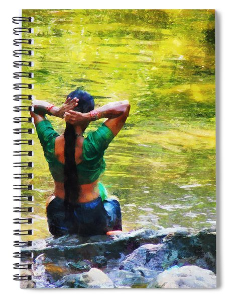 After The River Bathing. Indian Woman. Impressionism Spiral Notebook