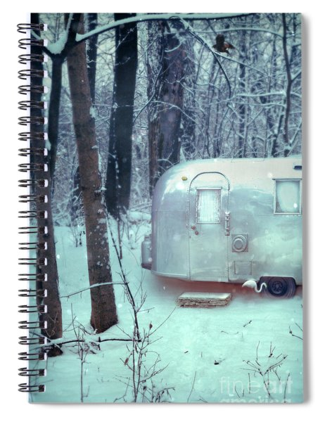 Airstream Trailer In Snowy Woods Spiral Notebook