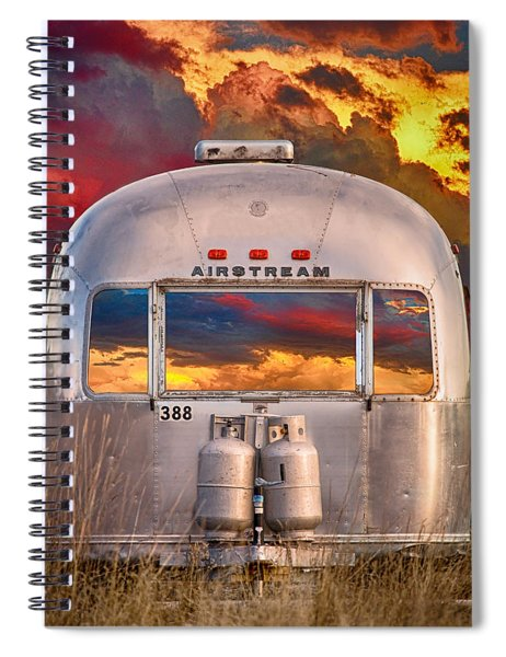 Airstream Travel Trailer Camping Sunset Window View Spiral Notebook