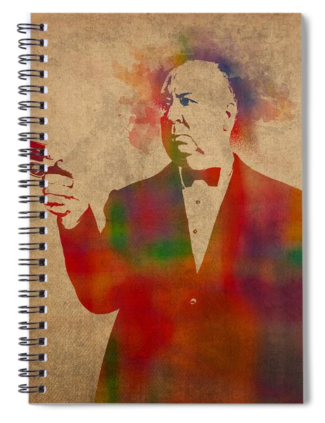 Alfred Hitchcock Watercolor Portrait On Worn Parchment Spiral Notebook