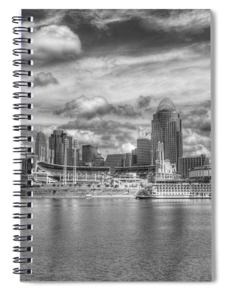 Spiral Notebook featuring the photograph All American City 2 Bw by Mel Steinhauer