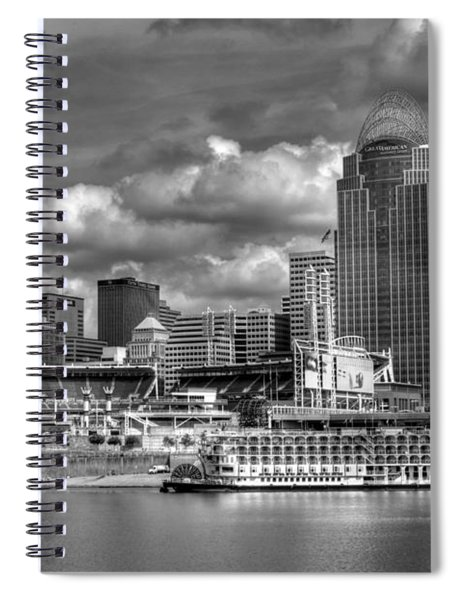 Spiral Notebook featuring the photograph All American City Bw by Mel Steinhauer