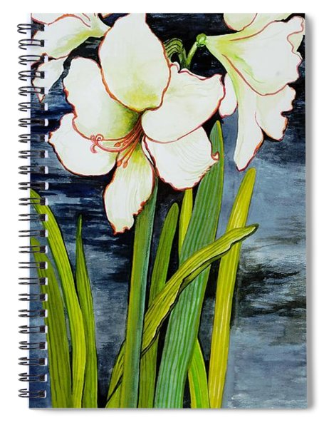 Amaryllis Against A Night Sky Spiral Notebook